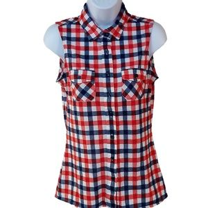Ali & Kris Top Red White Blue Sleeveless Button Md